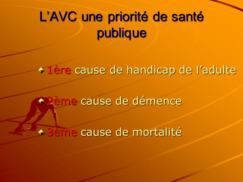 LAVC une priorité de santé publique 1ère cause de handicap de ladulte 2ème cause de démence 3ème cause de mortalité