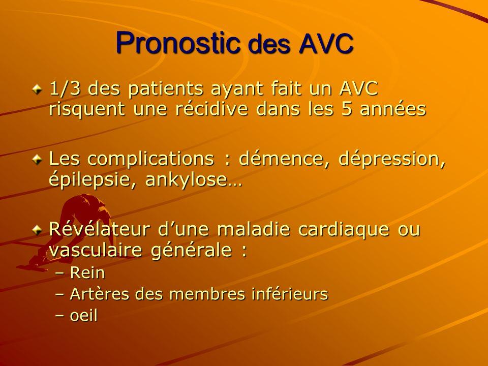 Pronostic des AVC 1/3 des patients ayant fait un AVC risquent une récidive dans les 5 années Les complications : démence, dépression, épilepsie, ankyl