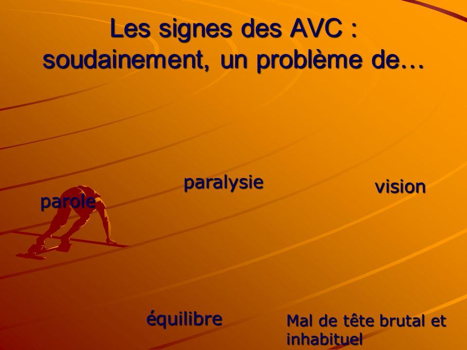 Les signes des AVC : soudainement, un problème de… parole é quilibre paralysie vision Mal de tête brutal et inhabituel