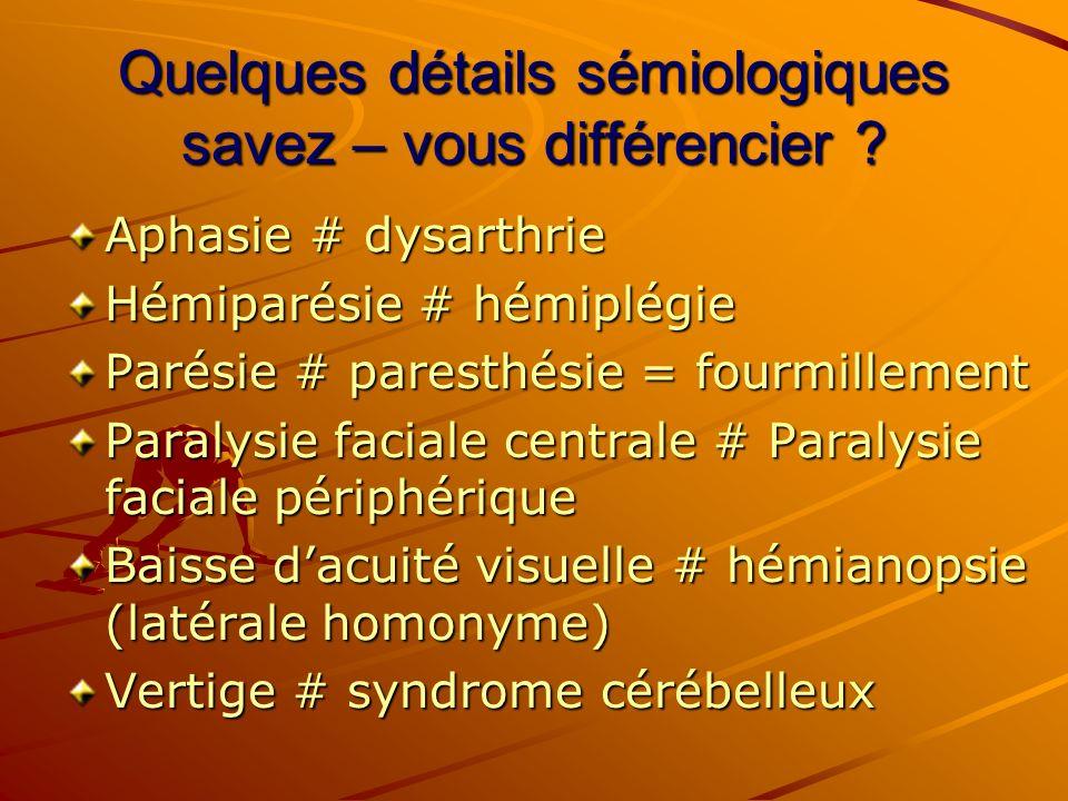 Quelques détails sémiologiques savez – vous différencier ? Aphasie # dysarthrie Hémiparésie # hémiplégie Parésie # paresthésie = fourmillement Paralys