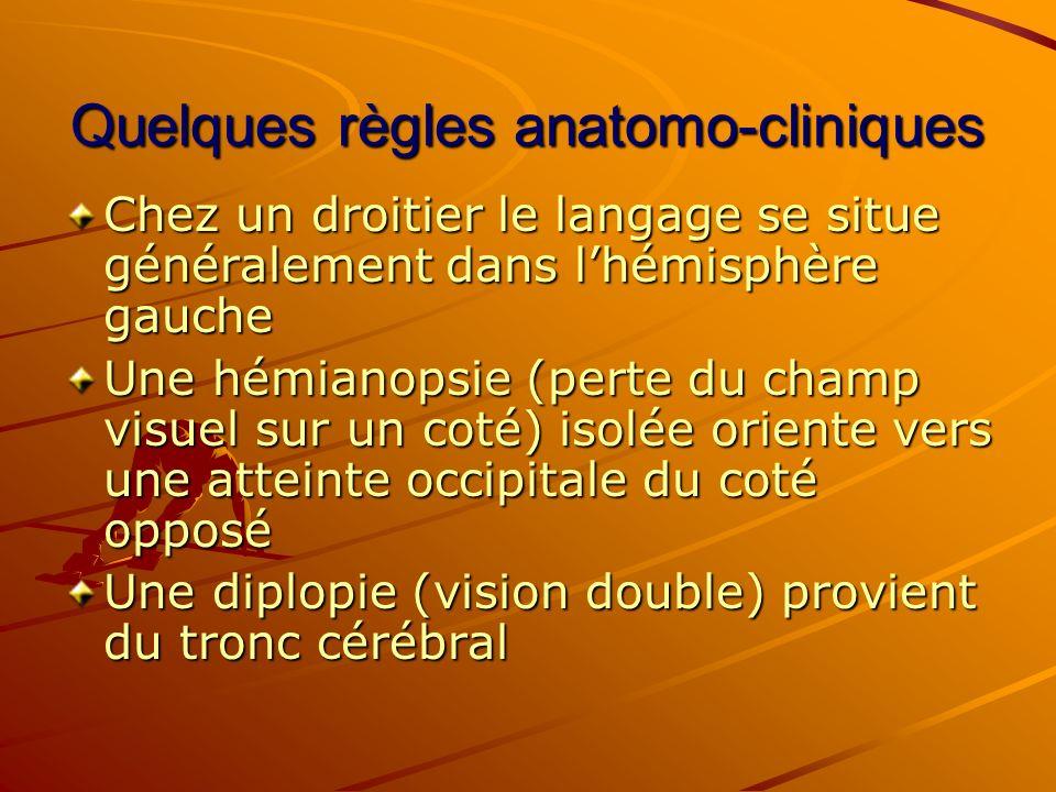 Quelques règles anatomo-cliniques Chez un droitier le langage se situe généralement dans lhémisphère gauche Une hémianopsie (perte du champ visuel sur