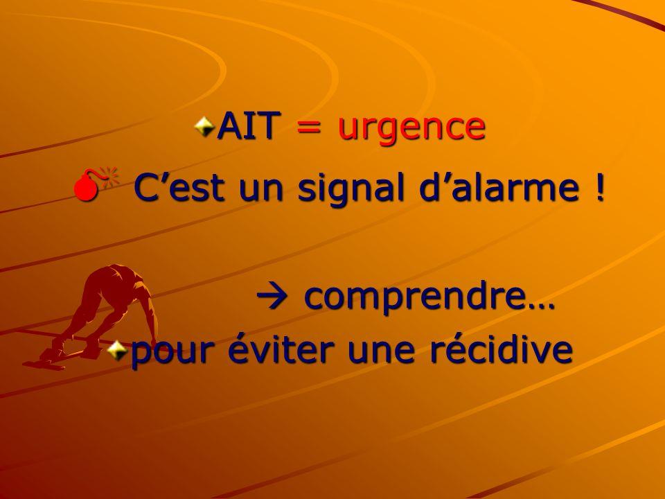 AIT = urgence Cest un signal dalarme ! Cest un signal dalarme ! comprendre… comprendre… pour éviter une récidive