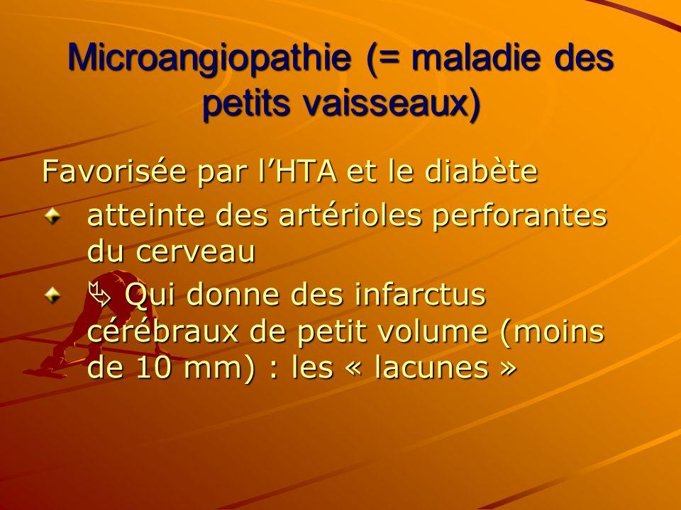 Microangiopathie (= maladie des petits vaisseaux) Favorisée par lHTA et le diabète atteinte des artérioles perforantes du cerveau Qui donne des infarc