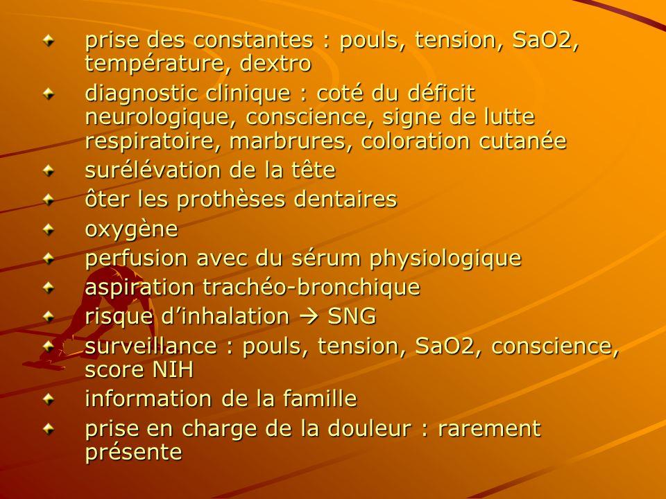 prise des constantes : pouls, tension, SaO2, température, dextro diagnostic clinique : coté du déficit neurologique, conscience, signe de lutte respir