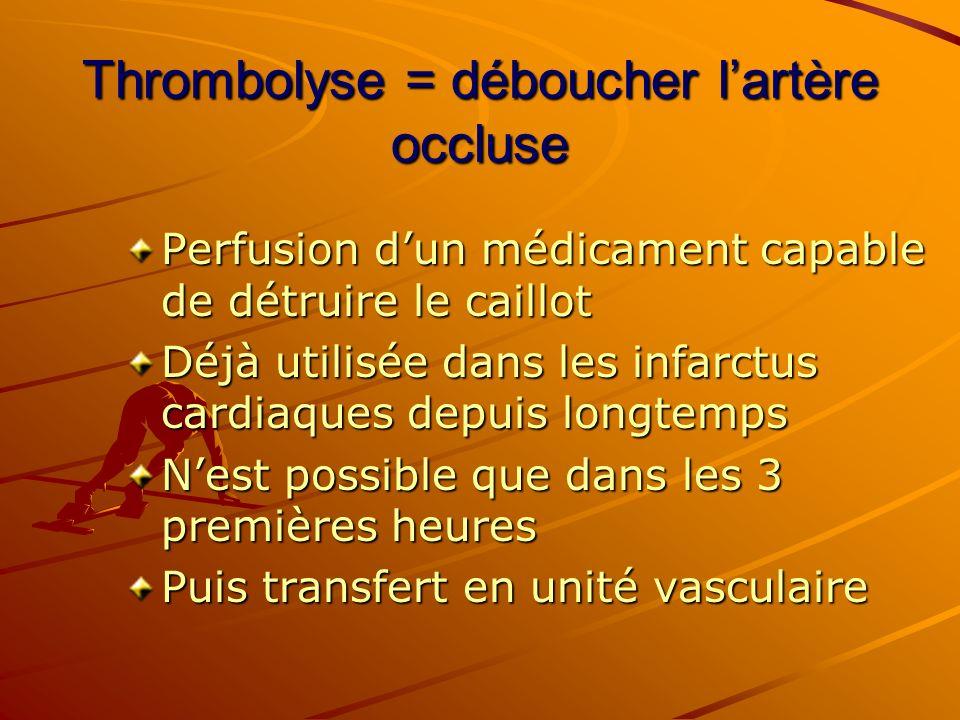 Thrombolyse = déboucher lartère occluse Perfusion dun médicament capable de détruire le caillot Déjà utilisée dans les infarctus cardiaques depuis lon