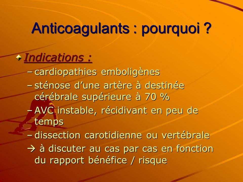 Anticoagulants : pourquoi ? Indications : –cardiopathies emboligènes –sténose dune artère à destinée cérébrale supérieure à 70 % –AVC instable, récidi