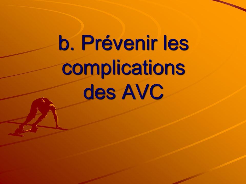 b. Prévenir les complications des AVC