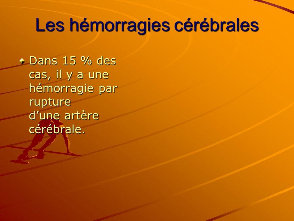 Les hémorragies cérébrales Dans 15 % des cas, il y a une hémorragie par rupture dune artère cérébrale.