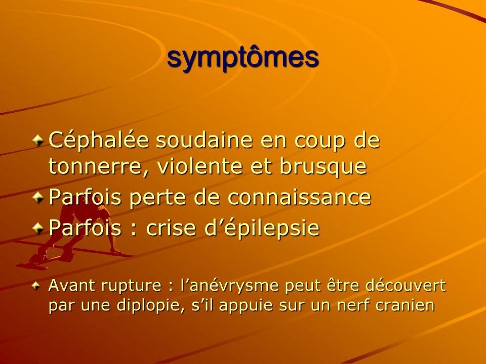 symptômes Céphalée soudaine en coup de tonnerre, violente et brusque Parfois perte de connaissance Parfois : crise dépilepsie Avant rupture : lanévrys