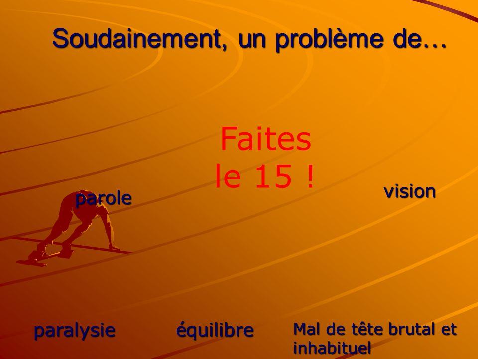 Soudainement, un problème de… parole é quilibre paralysie vision Mal de tête brutal et inhabituel Faites le 15 !