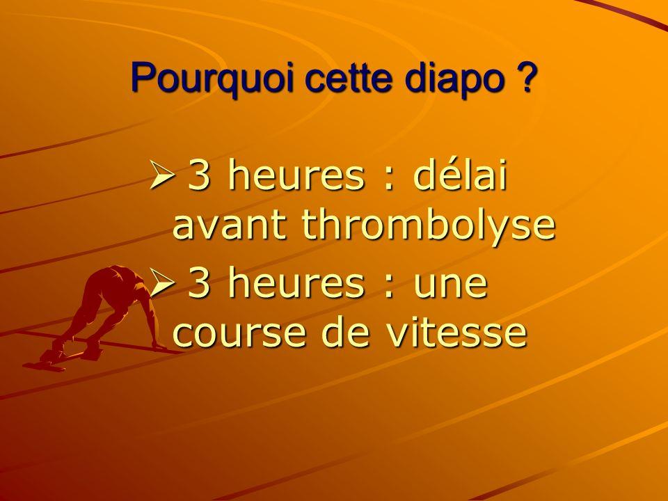 Pourquoi cette diapo ? 3 heures : délai avant thrombolyse 3 heures : délai avant thrombolyse 3 heures : une course de vitesse 3 heures : une course de