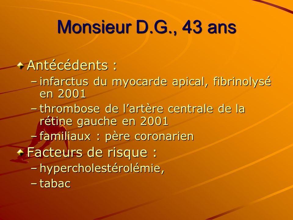 Monsieur D.G., 43 ans Antécédents : –infarctus du myocarde apical, fibrinolysé en 2001 –thrombose de lartère centrale de la rétine gauche en 2001 –fam