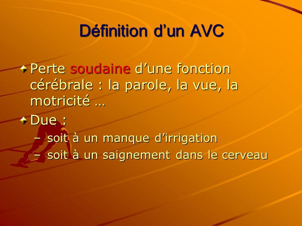 Définition dun AVC Perte soudaine dune fonction cérébrale : la parole, la vue, la motricité … Due : – soit à un manque dirrigation – soit à un saignem