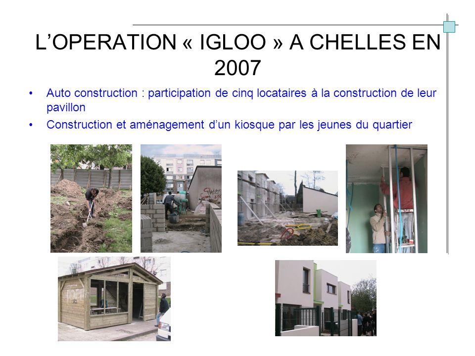 LOPERATION « IGLOO » A CHELLES EN 2007 Auto construction : participation de cinq locataires à la construction de leur pavillon Construction et aménagement dun kiosque par les jeunes du quartier