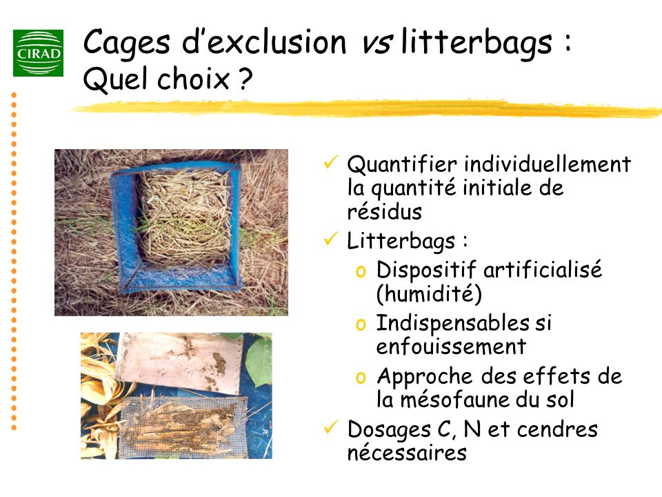 Cages dexclusion vs litterbags : Quel choix .