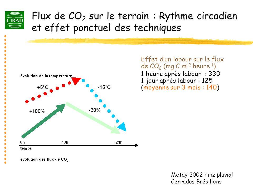 Flux de CO 2 sur le terrain : Rythme circadien et effet ponctuel des techniques Metay 2002 : riz pluvial Cerrados Brésiliens Effet dun labour sur le f