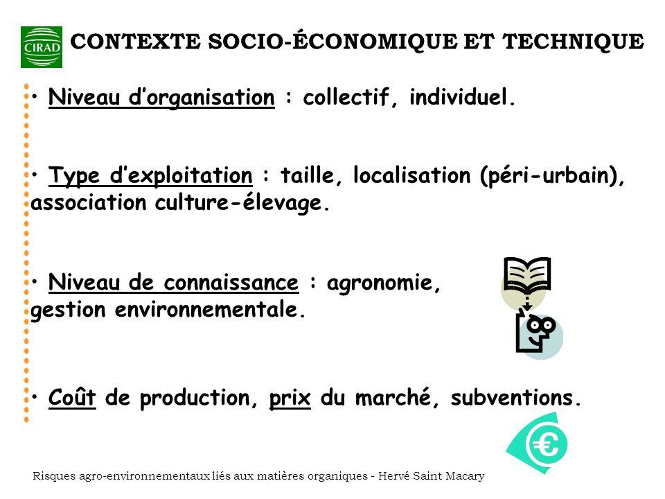 Technicité : travail mécanisé/animal/manuel Accès aux intrants : qualité et quantité, recyclage de résidus et de MO exogènes.