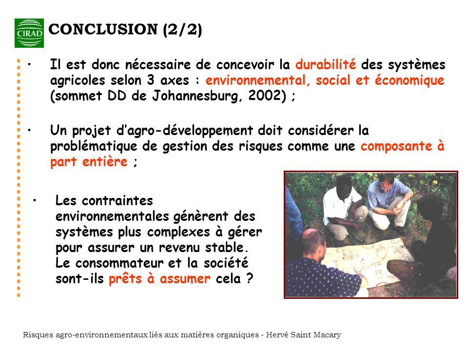 RISQUES AGRO-ENVIRONNEMENTAUX LIES AUX MATIERES ORGANIQUES H.