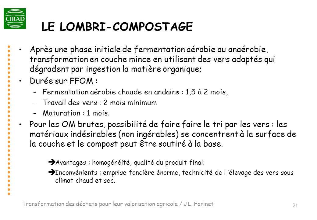 LE LOMBRI-COMPOSTAGE Après une phase initiale de fermentation aérobie ou anaérobie, transformation en couche mince en utilisant des vers adaptés qui d