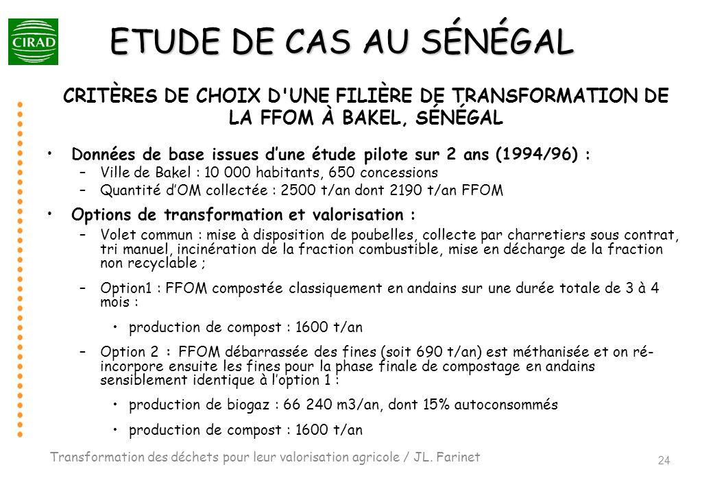 ETUDE DE CAS AU SÉNÉGAL CRITÈRES DE CHOIX D'UNE FILIÈRE DE TRANSFORMATION DE LA FFOM À BAKEL, SÉNÉGAL Données de base issues dune étude pilote sur 2 a
