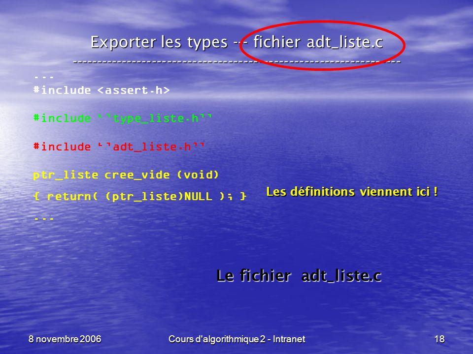 8 novembre 2006Cours d'algorithmique 2 - Intranet18 Exporter les types --- fichier adt_liste.c -------------------------------------------------------