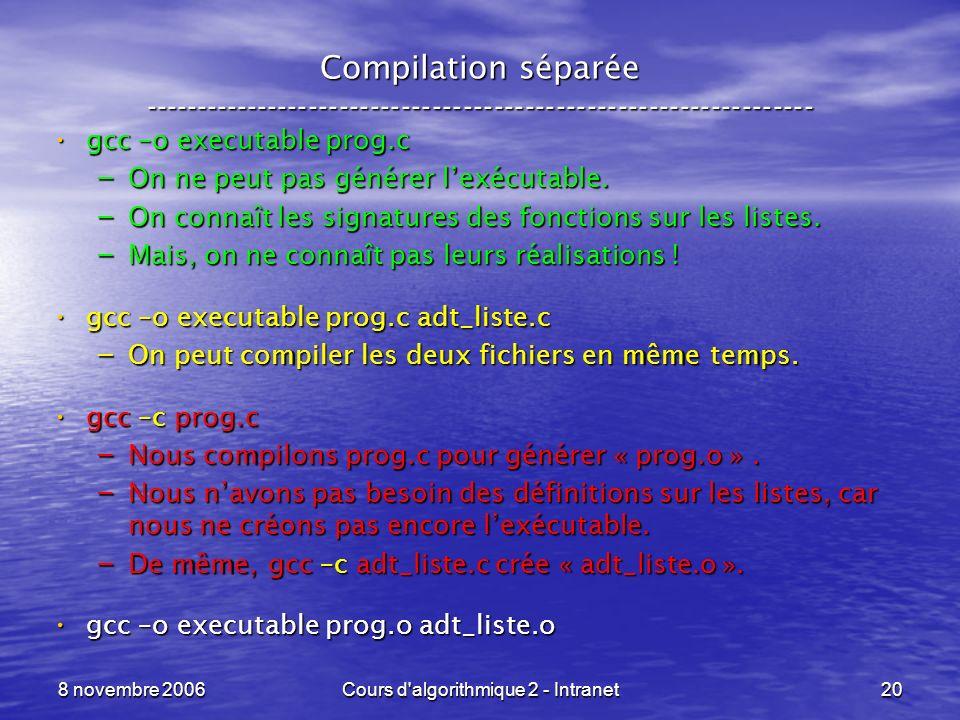 8 novembre 2006Cours d'algorithmique 2 - Intranet20 Compilation séparée ----------------------------------------------------------------- gcc –o execu