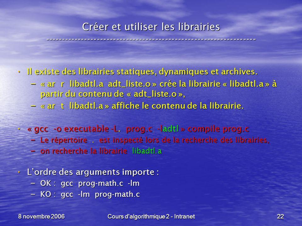 8 novembre 2006Cours d'algorithmique 2 - Intranet22 Créer et utiliser les librairies -----------------------------------------------------------------
