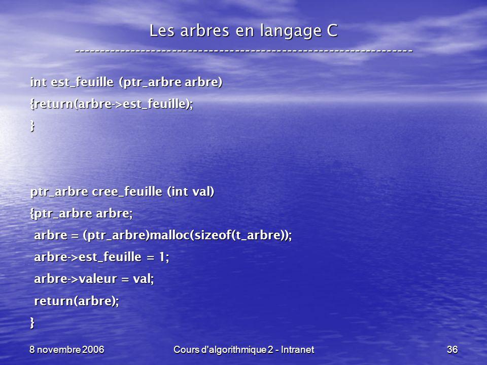 8 novembre 2006Cours d'algorithmique 2 - Intranet36 Les arbres en langage C ----------------------------------------------------------------- int est_