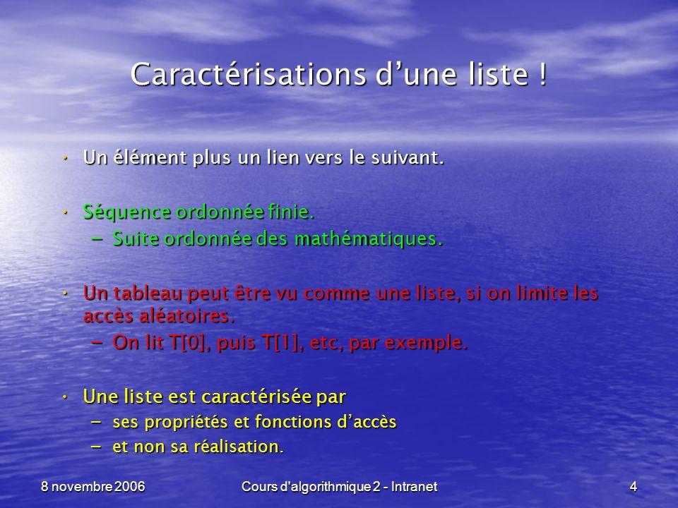 8 novembre 2006Cours d algorithmique 2 - Intranet15 Listes en langage C ----------------------------------------------------------------- ptr_liste cree_vide (void) { return( (ptr_liste)NULL ); } int est_vide (ptr_liste liste) { return( liste == (ptr_liste)NULL ); } type_base tete_liste (ptr_liste liste) {assert( liste != (ptr_liste)NULL ); return( liste->valeur ); } ptr_liste queue_liste (ptr_liste liste) {assert( liste != (ptr_liste)NULL ); return( liste->suivant ); }