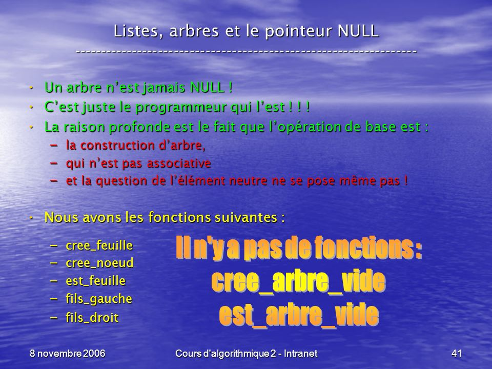 8 novembre 2006Cours d'algorithmique 2 - Intranet41 Listes, arbres et le pointeur NULL ---------------------------------------------------------------