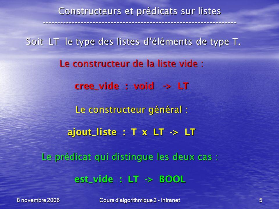 8 novembre 2006Cours d algorithmique 2 - Intranet16 Listes en langage C ----------------------------------------------------------------- ptr_liste ajout_liste (type_base elt, ptr_liste liste) {ptr_liste ptr_auxil; ptr_auxil = (ptr_liste)malloc(sizeof(t_maillon)); ptr_auxil->valeur = elt; ptr_auxil->suivant = liste; return( ptr_auxil );} ptr_listeelt liste