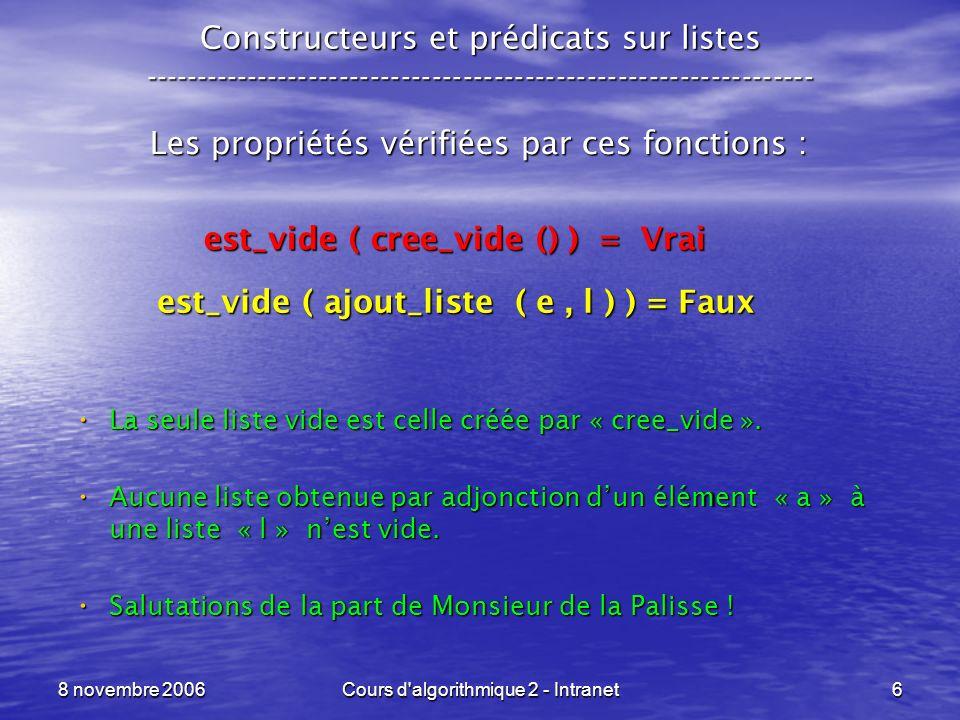 8 novembre 2006Cours d algorithmique 2 - Intranet7 Fonctions daccès sur listes ----------------------------------------------------------------- La fonction daccès à lélément : tete_liste : LT -> T La fonction daccès à la suite de la liste : queue_liste : LT -> LT Les propriétés vérifiées par ces fonctions : tete_liste ( ajout_liste ( a, l ) ) = a queue_liste ( ajout_liste ( a, l ) ) = l