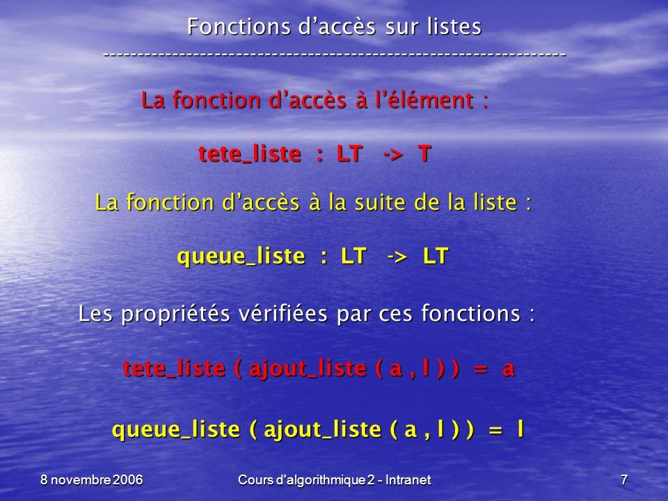 8 novembre 2006Cours d algorithmique 2 - Intranet8 Fonctions daccès sur listes ----------------------------------------------------------------- Les limitations dapplication de ces fonctions, les appels suivants sont interdits : tete_liste ( cree_vide () ) queue_liste ( cree_vide () ) On parle dune structure Ce qui est vraiment caractéristique dune liste : tete_liste ( ajout_liste ( a, l ) ) = a Last In - First Out (LIFO)
