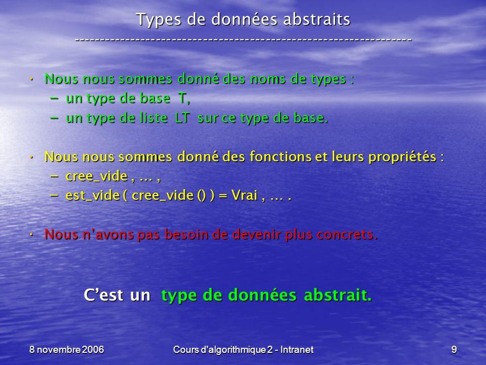8 novembre 2006Cours d algorithmique 2 - Intranet30 Les arbres enracinés (binaires) comme ADT ----------------------------------------------------------------- Création dune feuille : Création dune feuille : – cree_feuille : void -> A – cree_feuille : int -> A pour créer une feuille qui comporte une valeur entière, avec : valeur_feuille : A -> int valeur_feuille : A -> int Création dun nœud binaire : Création dun nœud binaire : – cree_arbre : A x A -> A – cree_arbre : A x int x A -> A pour créer un nœud qui comporte une étiquette entière, avec : etiquette_arbre : A -> int etiquette_arbre : A -> int