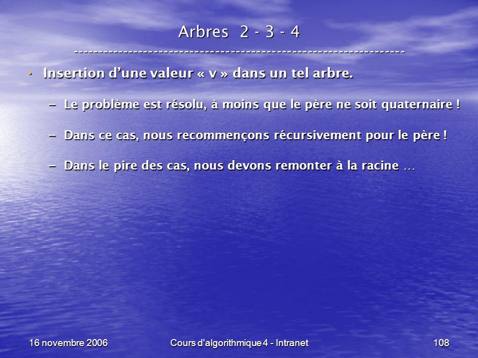 16 novembre 2006Cours d'algorithmique 4 - Intranet108 Arbres 2 - 3 - 4 ----------------------------------------------------------------- Insertion dun
