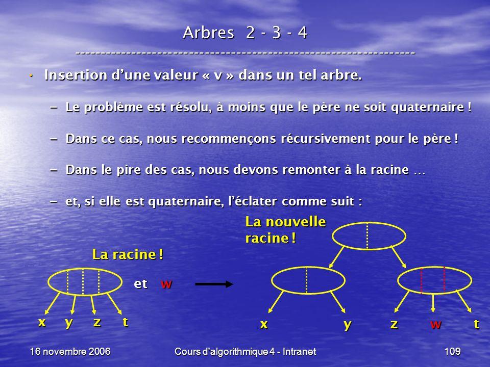 16 novembre 2006Cours d'algorithmique 4 - Intranet109 Arbres 2 - 3 - 4 ----------------------------------------------------------------- Insertion dun