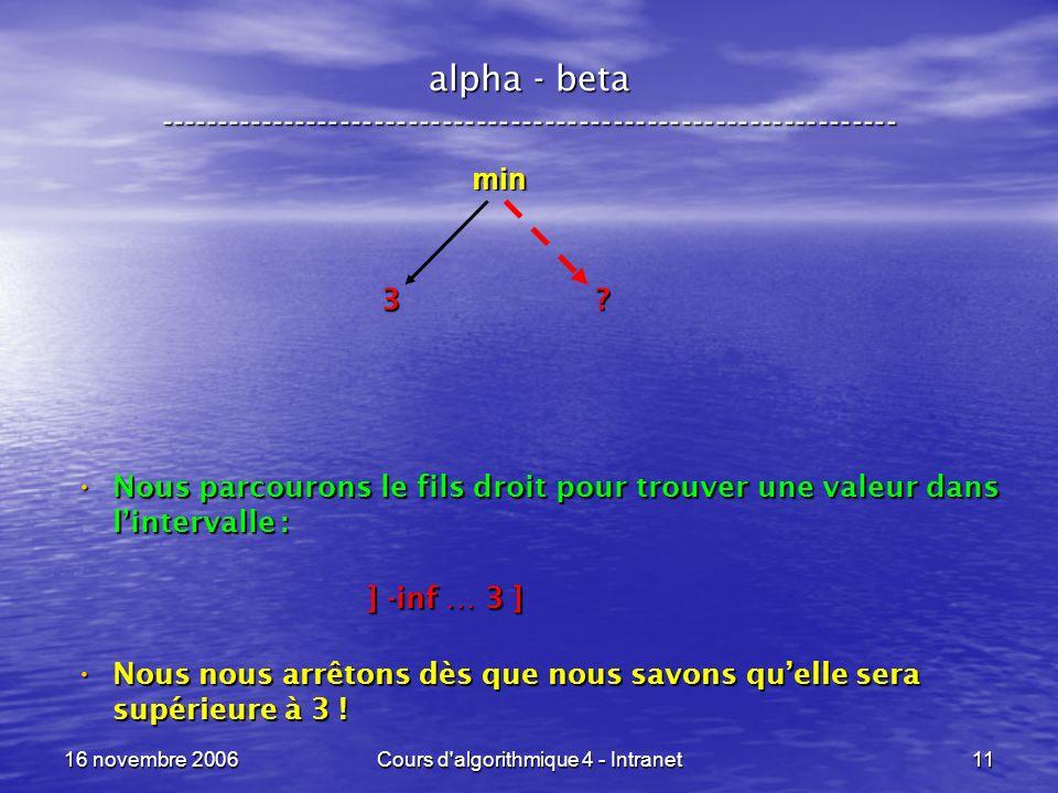 16 novembre 2006Cours d'algorithmique 4 - Intranet11 alpha - beta ----------------------------------------------------------------- min ? 3 Nous parco