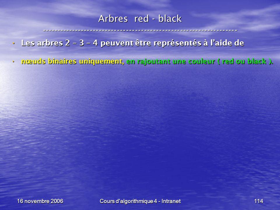 16 novembre 2006Cours d'algorithmique 4 - Intranet114 Arbres red - black ----------------------------------------------------------------- Les arbres
