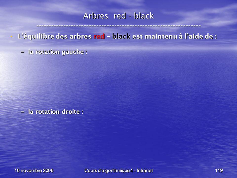 16 novembre 2006Cours d'algorithmique 4 - Intranet119 Arbres red - black ----------------------------------------------------------------- Léquilibre