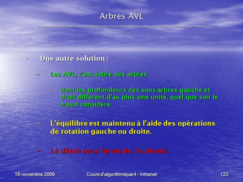 16 novembre 2006Cours d'algorithmique 4 - Intranet122 Arbres AVL ----------------------------------------------------------------- Une autre solution