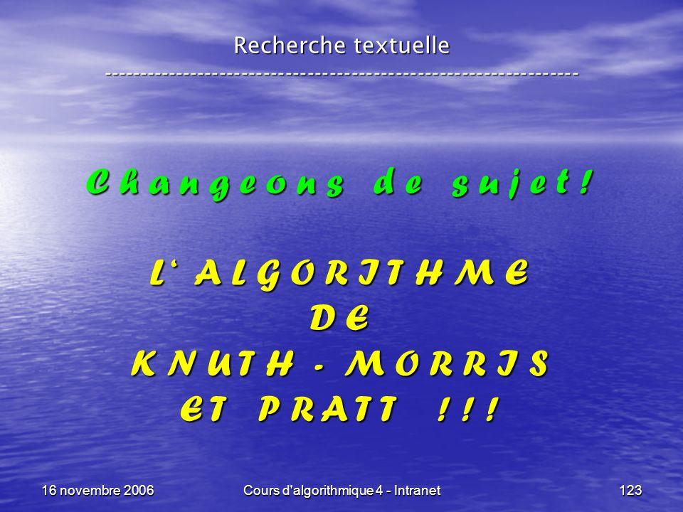 16 novembre 2006Cours d'algorithmique 4 - Intranet123 Recherche textuelle ----------------------------------------------------------------- C h a n g
