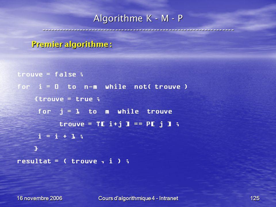 16 novembre 2006Cours d'algorithmique 4 - Intranet125 Algorithme K - M - P ----------------------------------------------------------------- trouve =