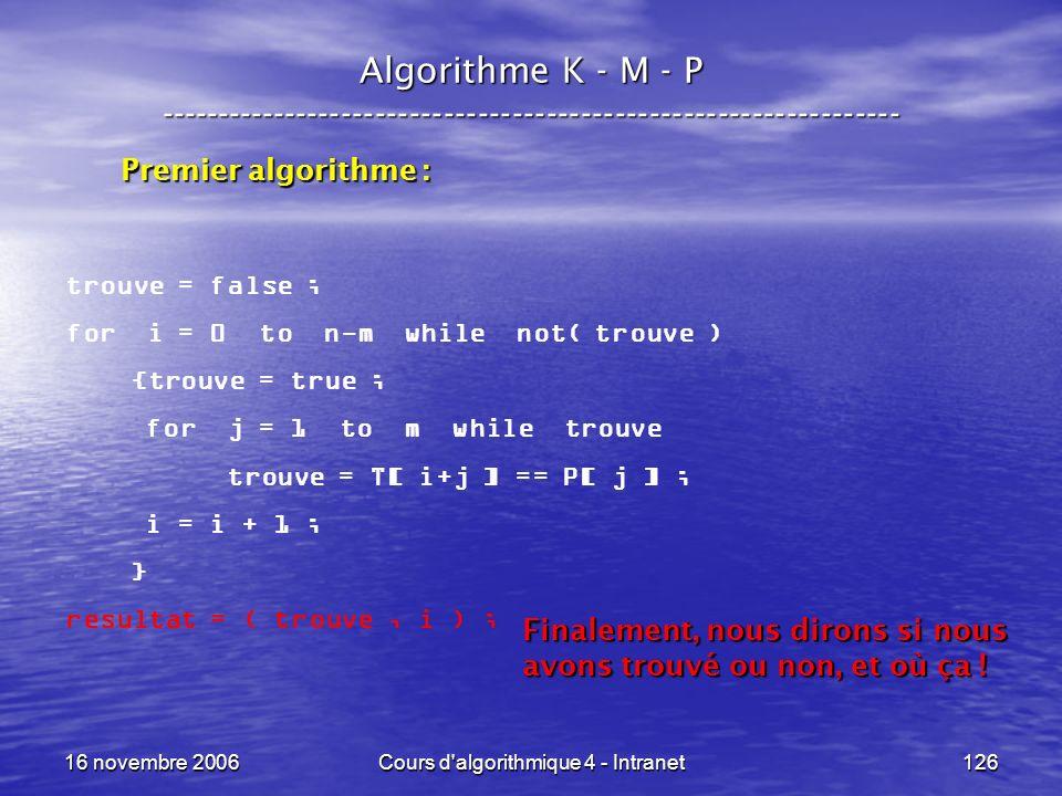 16 novembre 2006Cours d'algorithmique 4 - Intranet126 Algorithme K - M - P ----------------------------------------------------------------- trouve =