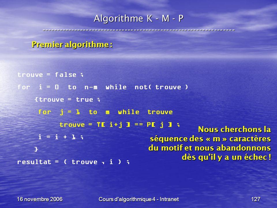 16 novembre 2006Cours d'algorithmique 4 - Intranet127 Algorithme K - M - P ----------------------------------------------------------------- trouve =