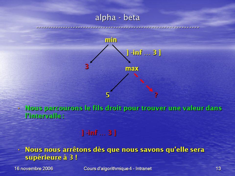 16 novembre 2006Cours d'algorithmique 4 - Intranet13 alpha - beta ----------------------------------------------------------------- min ? 3 Nous parco