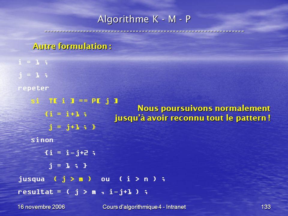 16 novembre 2006Cours d'algorithmique 4 - Intranet133 Algorithme K - M - P ----------------------------------------------------------------- i = 1 ; j
