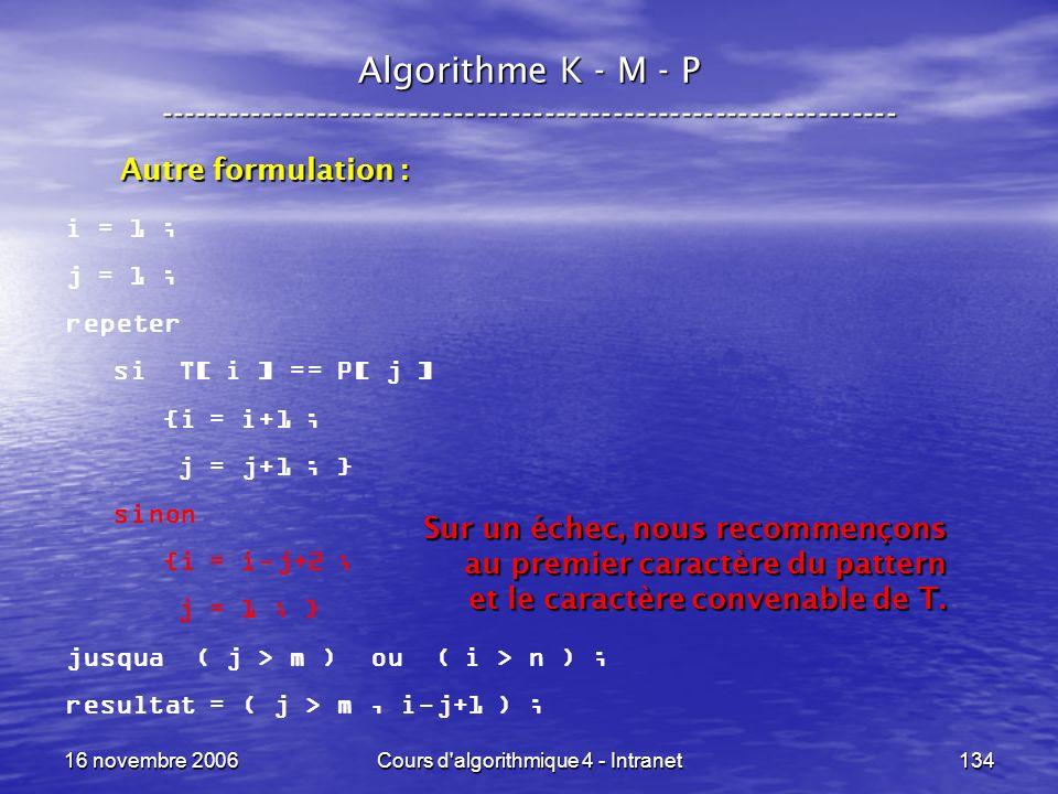 16 novembre 2006Cours d'algorithmique 4 - Intranet134 Algorithme K - M - P ----------------------------------------------------------------- i = 1 ; j