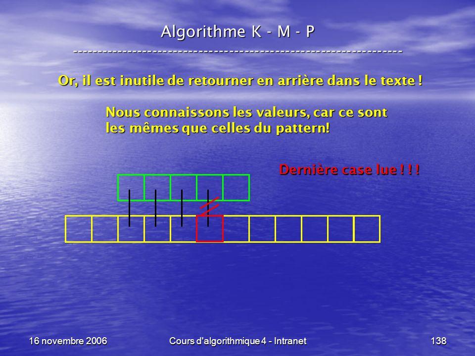 16 novembre 2006Cours d'algorithmique 4 - Intranet138 Algorithme K - M - P ----------------------------------------------------------------- Or, il es