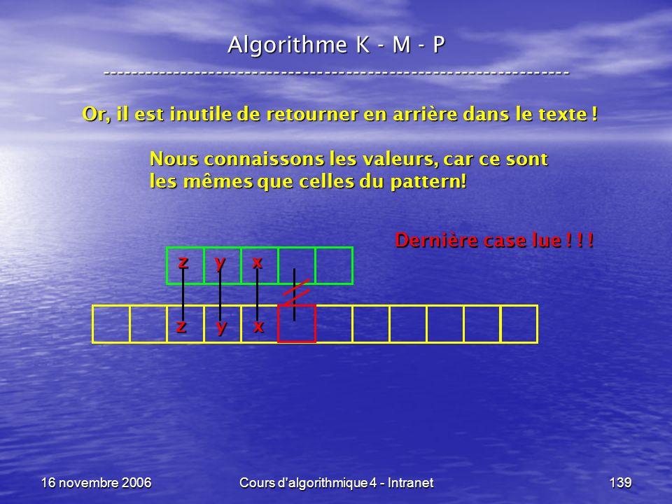 16 novembre 2006Cours d'algorithmique 4 - Intranet139 Algorithme K - M - P ----------------------------------------------------------------- Or, il es