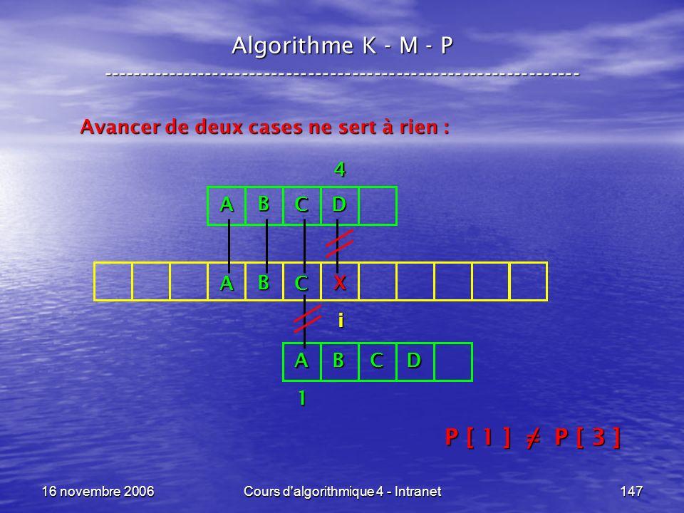 16 novembre 2006Cours d'algorithmique 4 - Intranet147 Algorithme K - M - P ----------------------------------------------------------------- Avancer d